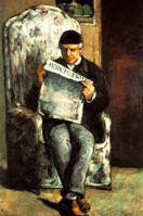 Leyendo un periódico.