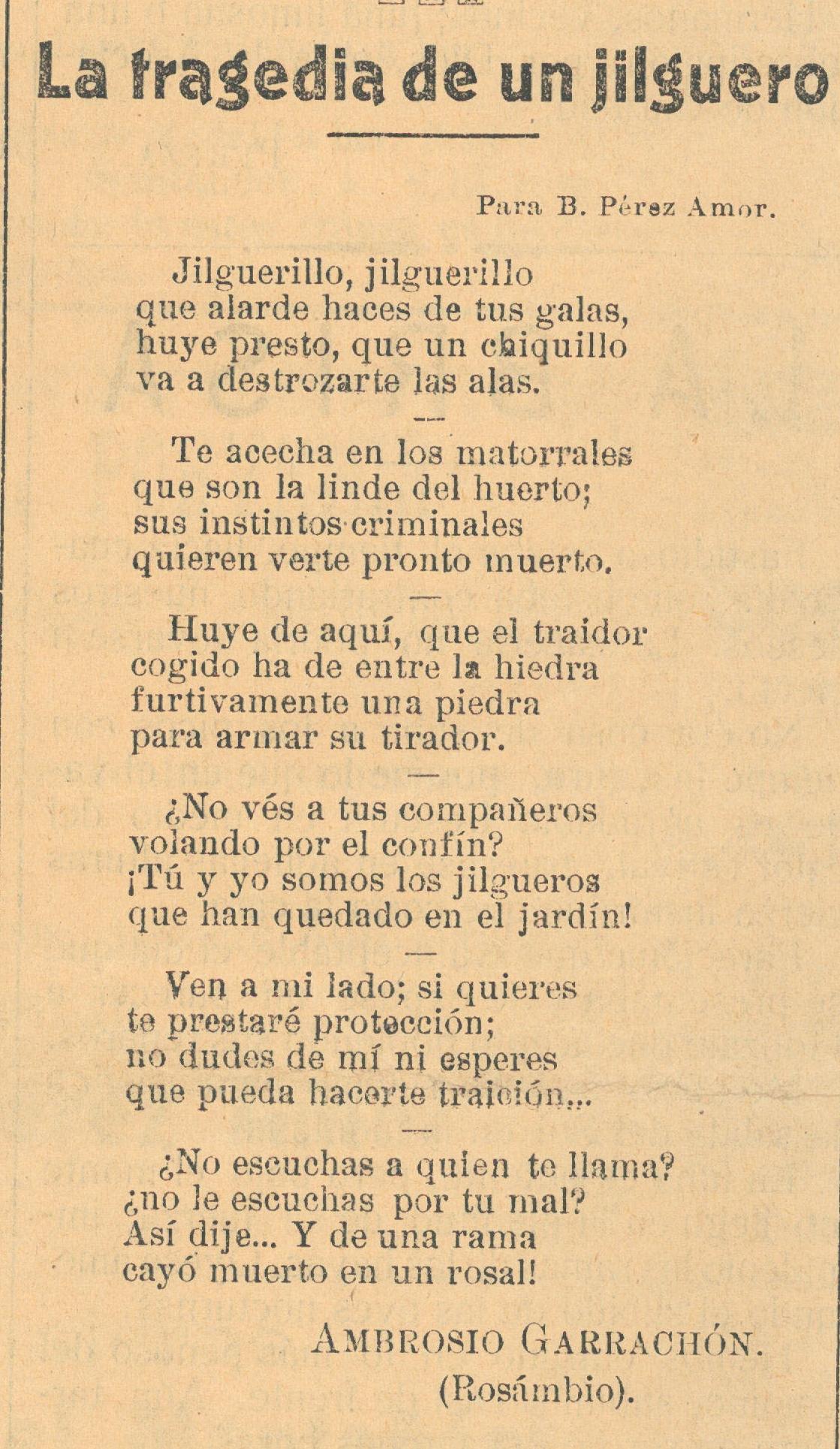 Poema: La tragedia de un jilguero   EL ÁGUILA View Image